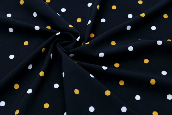 Tkanina Drukowana Sukienkowa Bluzkowa Musztarda Ecru Grochy Czarne Tło