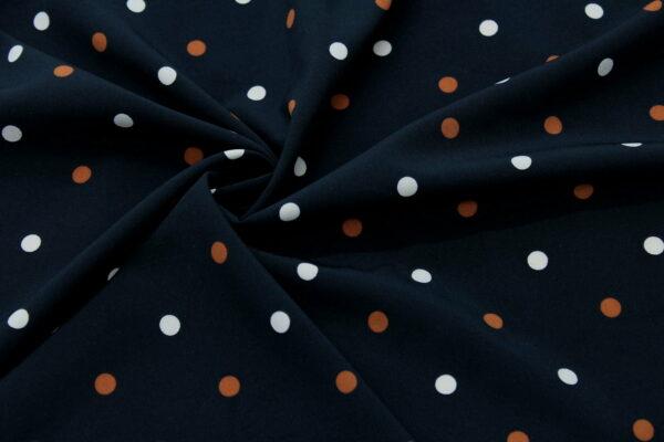 Tkanina Drukowana Sukienkowa Bluzkowa Beżowy Rudy Grochy Czarne Tło
