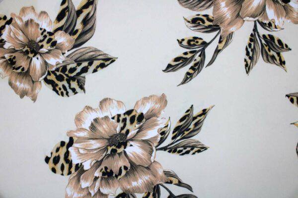Ткань Шифон Принт Цветы Леопардовый Фон Бежевый
