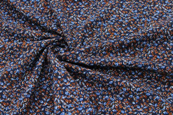 Ткань Принт Листья Синий Фон