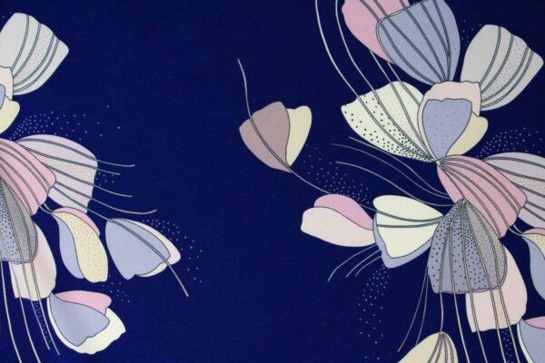 Tkanina Drukowana Sukienkowa Garniturowa Kwiaty Puder Beż Tło Granat