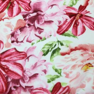 Tkanina Szyfon Drukowany Kwiaty Peonie Różowe Tło Ecru