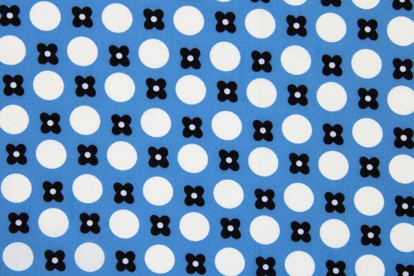 Tkanina Drukowana Bluzkowa Kwiaty Grochy Niebieskie Tło