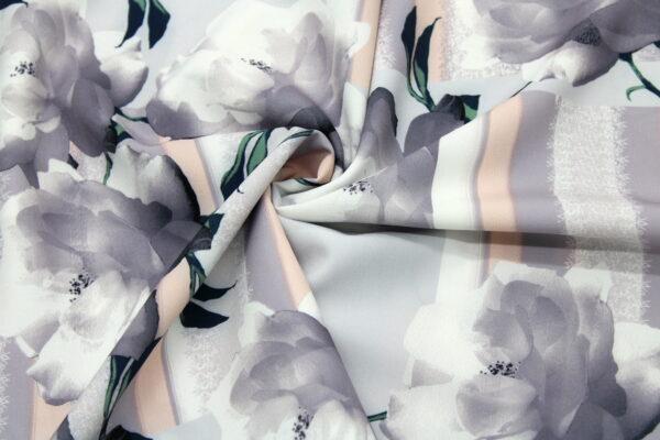 Tkanina Drukowana Bluzkowa Kwiaty Paski Szary Pudrowy