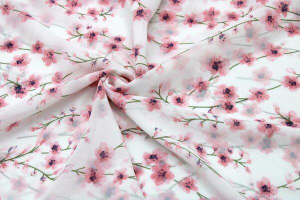 Tkanina Szyfon Drukowany Kwiaty Łączka Róż Tło Ecru