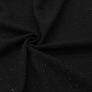 Трикотаж Вафелька Черный Металлик