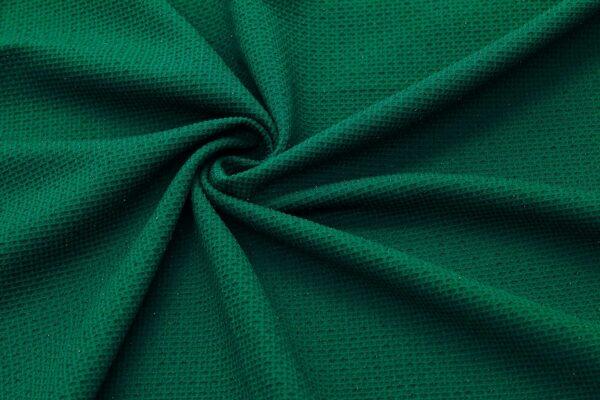Dzianina Wafelek Sukienkowa Na Spódnicę Butelkowy Zielony Metalik