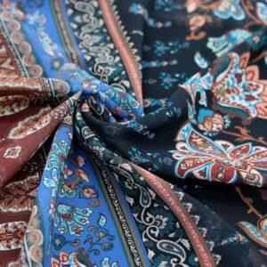 Ткань Принт Бохо Цветы Голубой Черный Рыжий