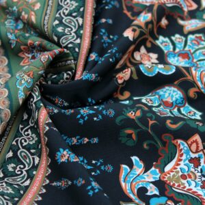 Ткань Принт Бохо Хаки Черный Рыжий
