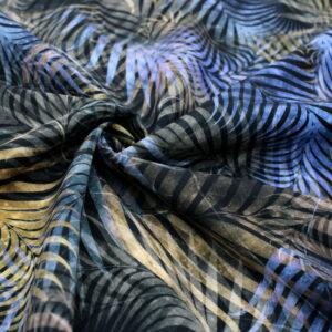 Tkanina Drukowana Sukienkowa Bluzkowa Liście Jungle Niebieski