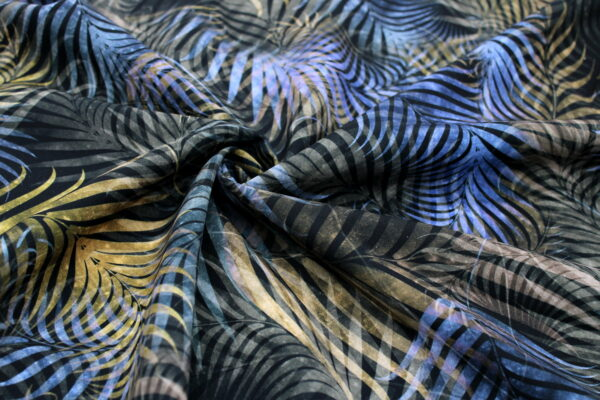 Ткань Принт Листья Джунгли Голубой