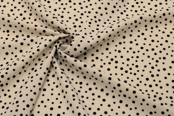 Printed Fabric Black Polka Dots Beige Background