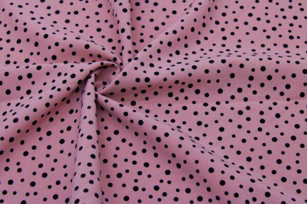 Ткань Принт Чёрный Горошки Розовый Фон