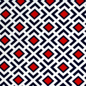 Geometric Pattern Printed Fabric Navy Blue Red Ecru