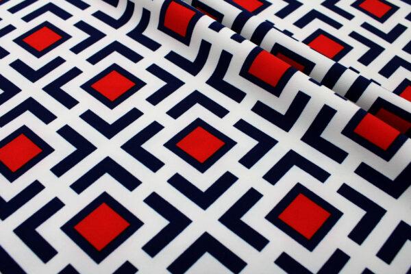 Ткань Принт Геометрия Узор Синий Красный Молочный