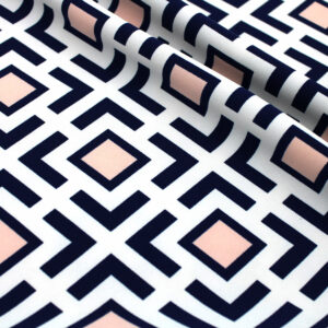 Printed Fabric Geometric Pattern Navy Blue Powder Ecru