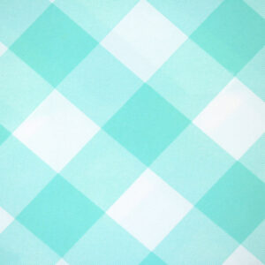 Printed Fabric Mint Ecru Checkered