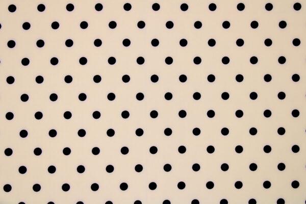 Tkanina Drukowana Bluzkowa Czarne Grochy Beż Tło