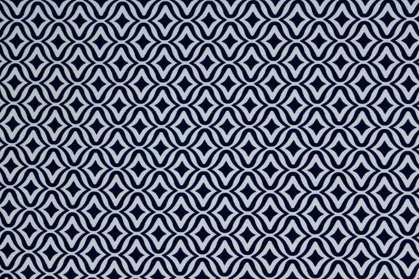 Tkanina Drukowana Sukienkowa Garniturowa Geometryczny Wzór Granatowy Błękitny