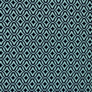 Geometric Pattern Printed Fabric Navy Blue Mint