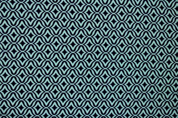 Tkanina Drukowana Sukienkowa Garniturowa Geometryczny Wzór Granatowy Miętowy