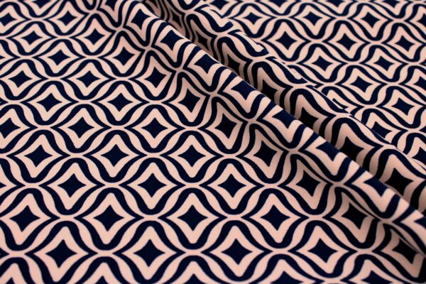Tkanina Drukowana Sukienkowa Garniturowa Geometryczny Wzór Granatowy Pudrowy