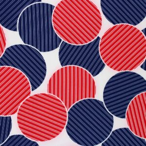 Printed Fabric Circles Navy Blue Red Ecru