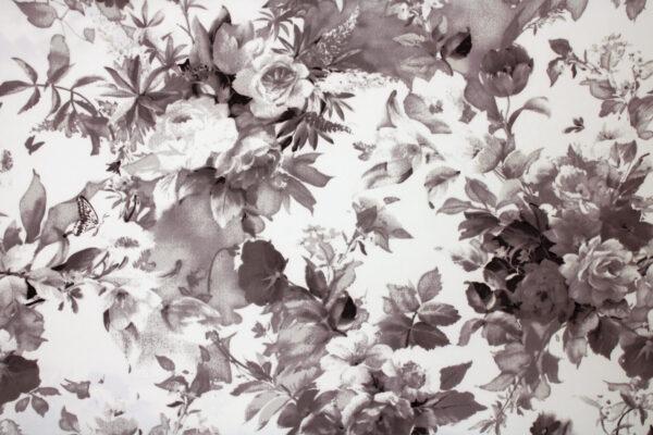 Printed Fabric Ecru flowers Background