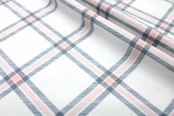 Printed Fabric Checkered Ecru Gray Powder