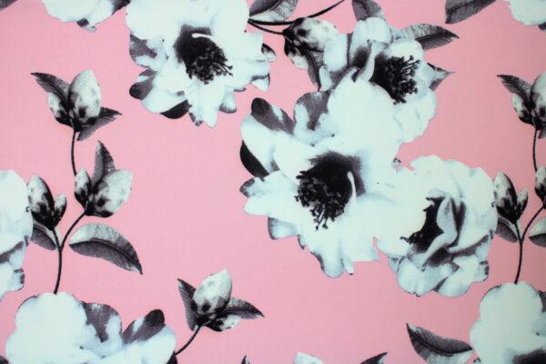 Tkanina Drukowana Sukienkowa Garniturowa Kwiaty Różowe Tło