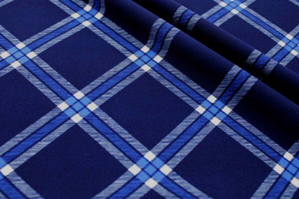 Printed Fabric Checkered pattern Navy blue cornflower