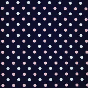 Printed Fabric white powdery polka dots navy blue background