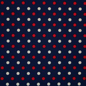 Ткань Принт Бежевый Красные Горошки Синий Фон