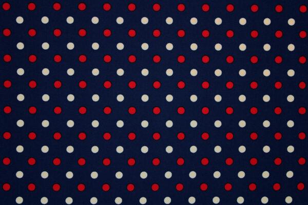 Tkanina Drukowana Bluzkowa Beżowe Czerwone Groszki Granatowe Tło