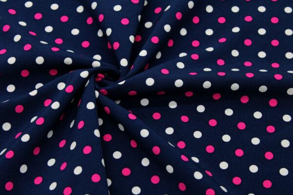 Printed Fabric white amaranth polka dots navy blue background