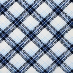 Printed Fabric Checkered Navy Blue Ecru