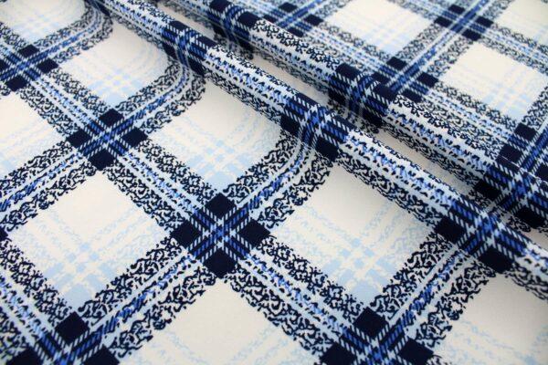 Tkanina Drukowana Sukienkowa Garniturowa Krata Granatowy Niebieski Ecru