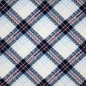 Printed Fabric Checkered Navy Blue Red Ecru