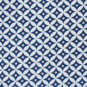 Printed Fabric Geometric Pattern Powder Ecru