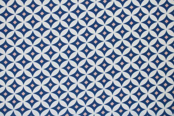 Tkanina Drukowana Sukienkowa Garniturowa Geometryczny Wzór  Jeansowy Pudrowy Ecru