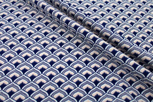 Tkanina Drukowana Sukienkowa Garniturowa Geometryczny Wzór Granatowy Pudrowy Ecru