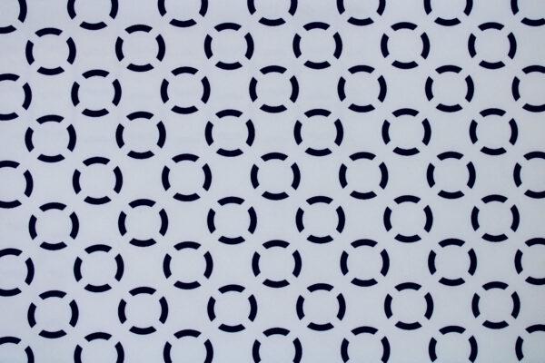 Tkanina Drukowana Sukienkowa Garniturowa Geometryczny Wzór  Granatowy Błękitny Ecru