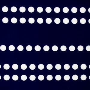 Printed Fabric ecru polka dots navy blue background