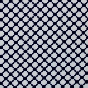 Printed Fabric flowers Navy blue white