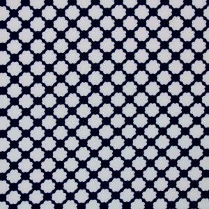 Ткань Принт Цветы Синий Белый