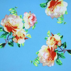 Printed Fabric flowers blue background