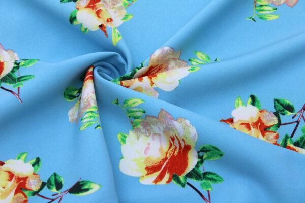 Ткань Принт Цветы Голубой Фон